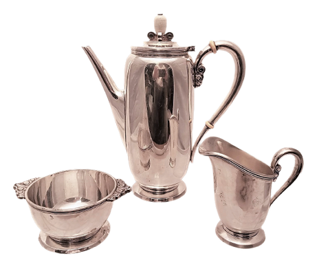 3-Piece International Sterling Silver Tea / Coffee Set in Art Moderne Style