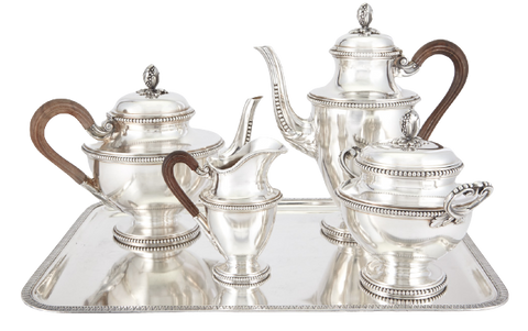 4-Piece Sterling Silver French Tea Set with Tray in Art Nouveau Style