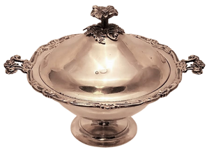 Turkish Silver Covered Dish / Bowl with Toran Hallmark