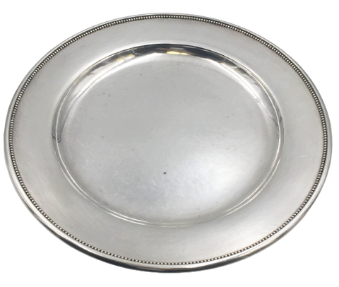 "Georg Jensen 10 1/4"" Hammered Sterling Silver Platter / Tray/ Plate in Pattern 210F"