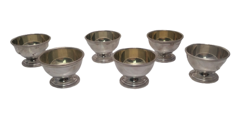 Six Small Tiffany & Co. Salt Cellars in Sterling Silver with Gold Wash