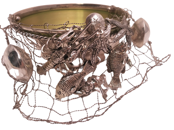 Italian Sterling Silver Marine-Themed Serving Bowl