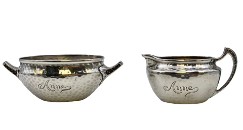 Tiffany & Co. Sterling Silver Creamer and Sugar Bowl Set in Japanesque Style