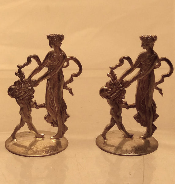 Rare Set of 6 French Silver Place Cards / Table Ornaments in Figural Form