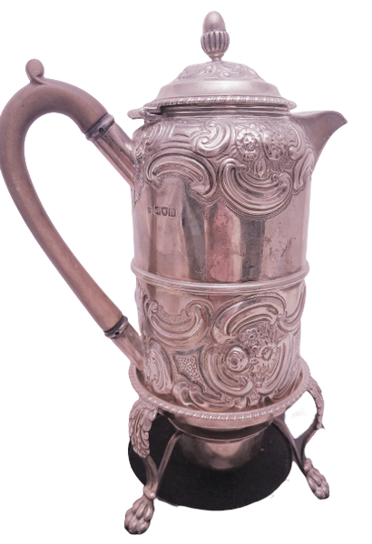 English Sterling Silver Coffee Pot and Warming Base in Edwardian Style