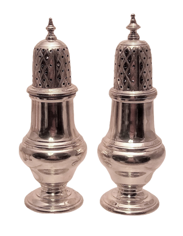 Pair of English Sterling Silver Salt Shakers by C. J. Vanders