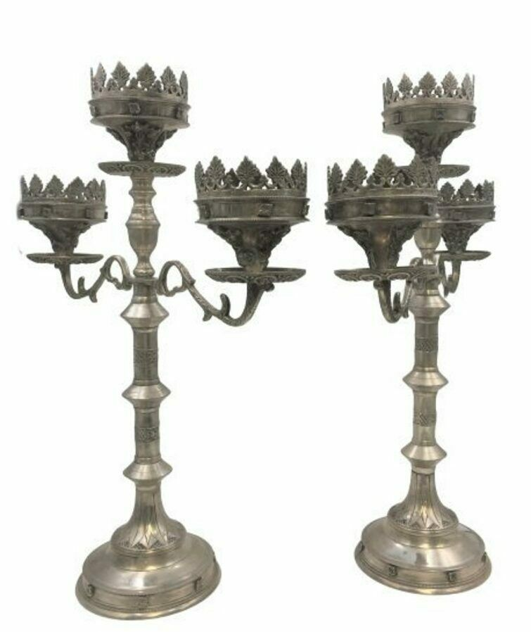 Pair of Silver Three Light Candelabra