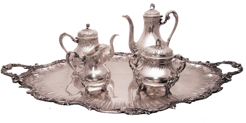 5-Piece French Silver Coffee/ Tea Service in Acanthus Pattern