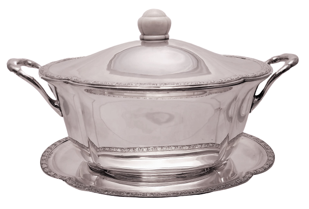 Austrian Continental Silver Tureen / Covered Dish With Matching Tray