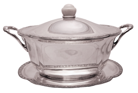 Austrian Continental Silver Tureen / Covered Dish With Matching Tray in Jugendstil Style