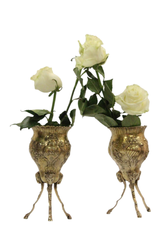 Pair of Continental Vermeil Silver Footed Vases