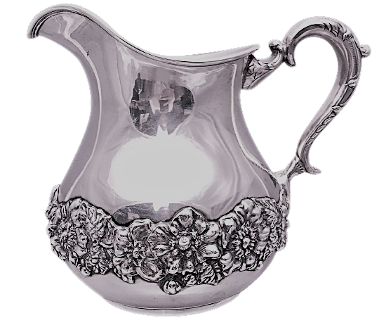 Sterling Silver Pitcher With Floral Decoration by Hamilton & Diesinger