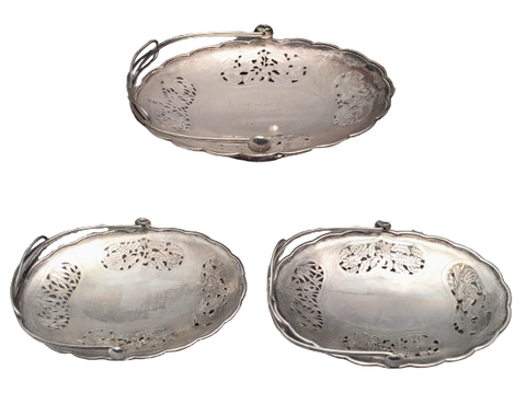 Set of 3 Chinese Silver Baskets/Centerpieces With Floral Piercing by Nanking