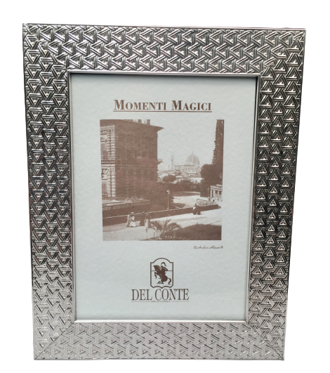 Del Conte Sterling Silver Picture Frame With Triangular Pattern