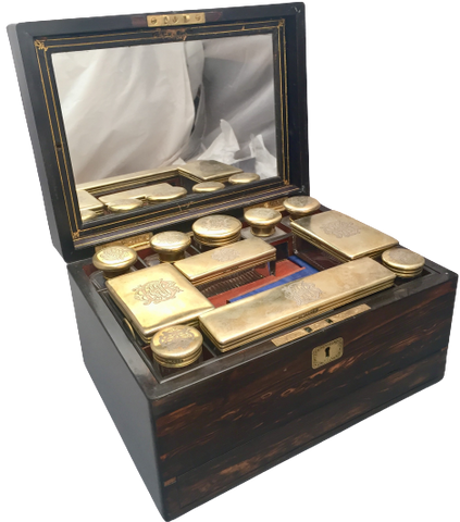 English Wooden Necessaire Case With Glass & Gilt Jars