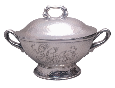 Tiffany & Co Hand Hammered Sterling Silver Japanesque Tureen With Handles