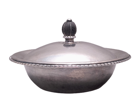 Georg Jensen Sterling Silver Covered Dish Bowl in Rope Pattern 290A