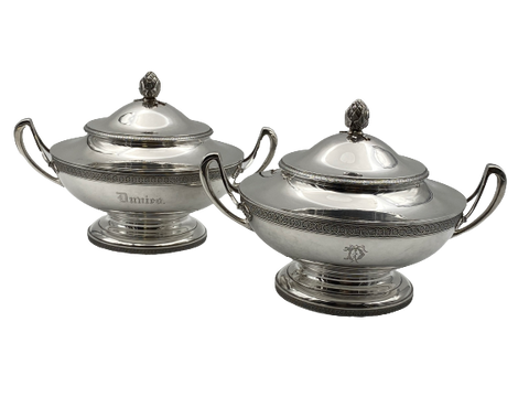 Pair of Tiffany & Co. Sterling Silver Tureens / Covered Dishes Circa 1870