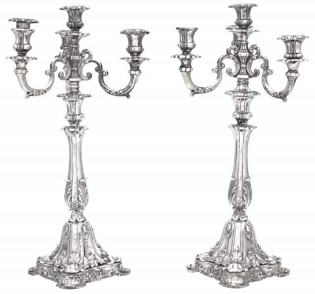 Pair of Four-Light Continental Silver Candelabra