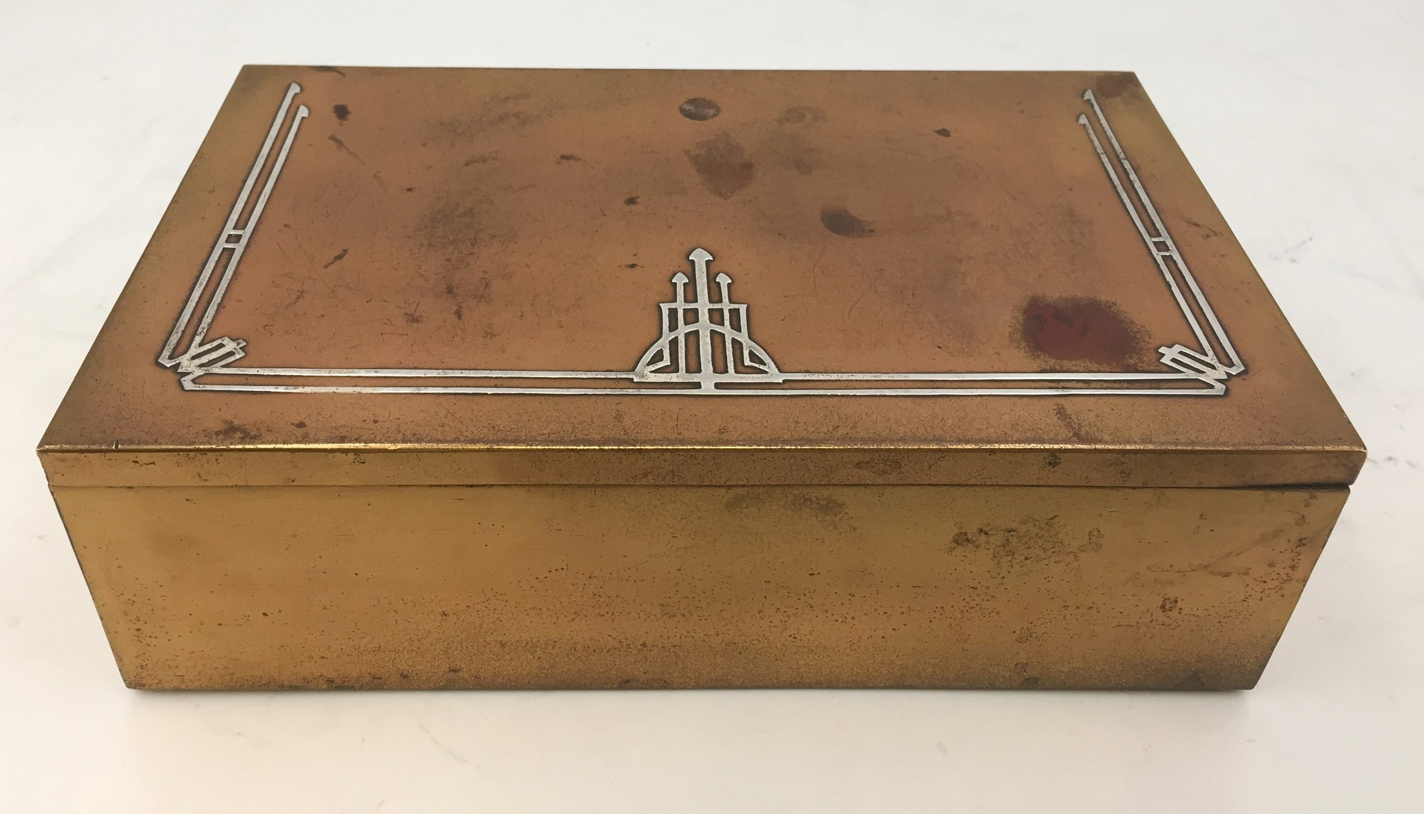 Mixed Metal Bronze and Sterling Silver Presentation/ Humidor Box in Art Deco Style