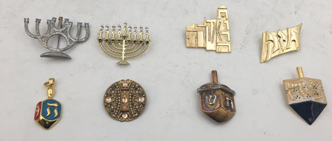 Set of 8 Judaica Silver Brooches and Pendant by Mane Katz and Others