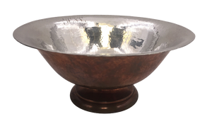 Hand Hammered Sterling Silver and Copper Centerpiece Bowl by Gebelein