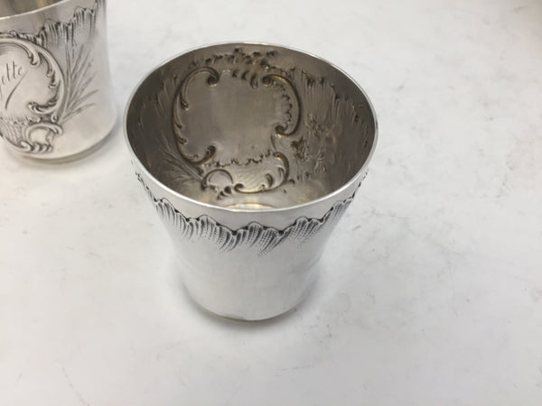 Pair of French Silver Kiddush Cups