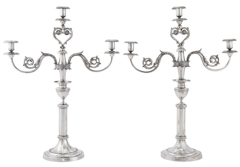 Pair of German Three Light Continental Silver Candelabra from the 19th Century