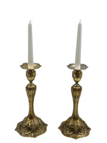 Pair of Gilt Sterling Silver Candlesticks by J. E. Caldwell