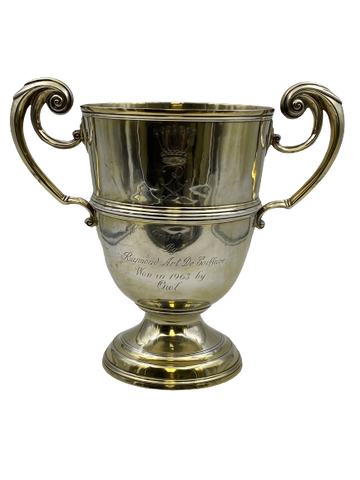 Wilson & Sharpe Scottish Gilt Sterling Silver Two-Handled Large Trophy Cup