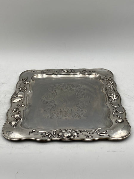 Polish Continental Silver Tray Platter in Art Nouveau Style