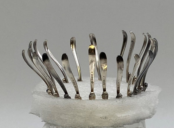 Set of 10 Georg Jensen Sterling Silver Serving Nut Picks in Pattern 68A