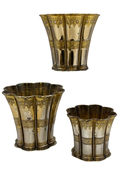 Set of 3 Queen Margrethe Gilt Sterling Silver Kiddush Cups/ Goblets by A. Michelsen