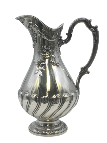 French 950 Silver Ewer / Pitcher by Emile Puiforcat with Raised Decoration