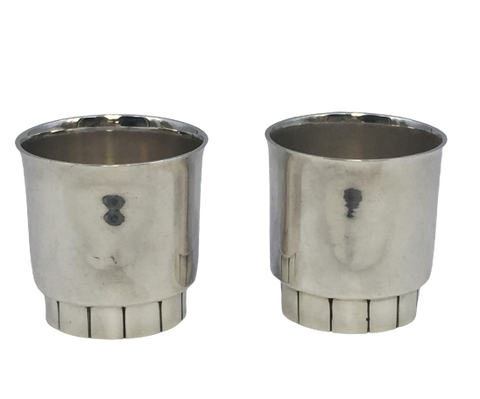 Pair of Sterling Silver Cups by Van Erp in Art Deco Style