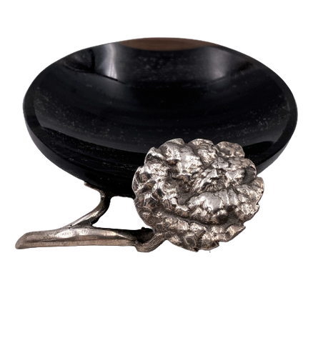 Sterling Silver and Black Onyx Small Ring Dish / Ashtray