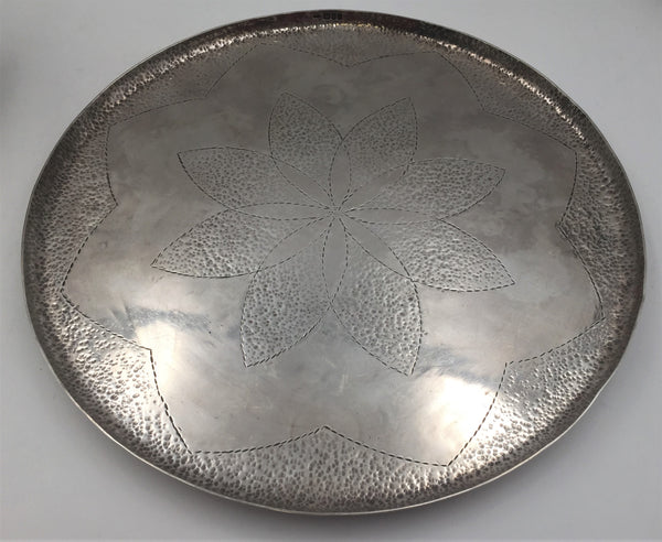 Hammered English Silver Bar Tray in Arts & Crafts Style