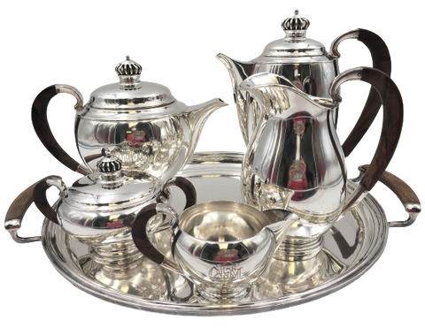 Danish Axel Salomonsen Sterling Silver 6-Piece Tea/ Coffee Set in Modern Style