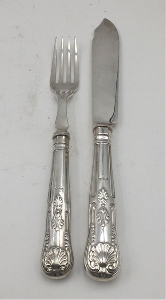English Sterling Silver 24-Piece Fish Set from 1928