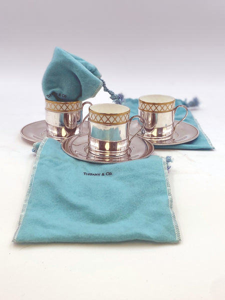 Tiffany & Co Sterling Silver Coffee Cups with Saucers and China Inserts