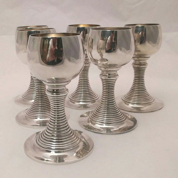 Six  Silver German Goblets by Lerner