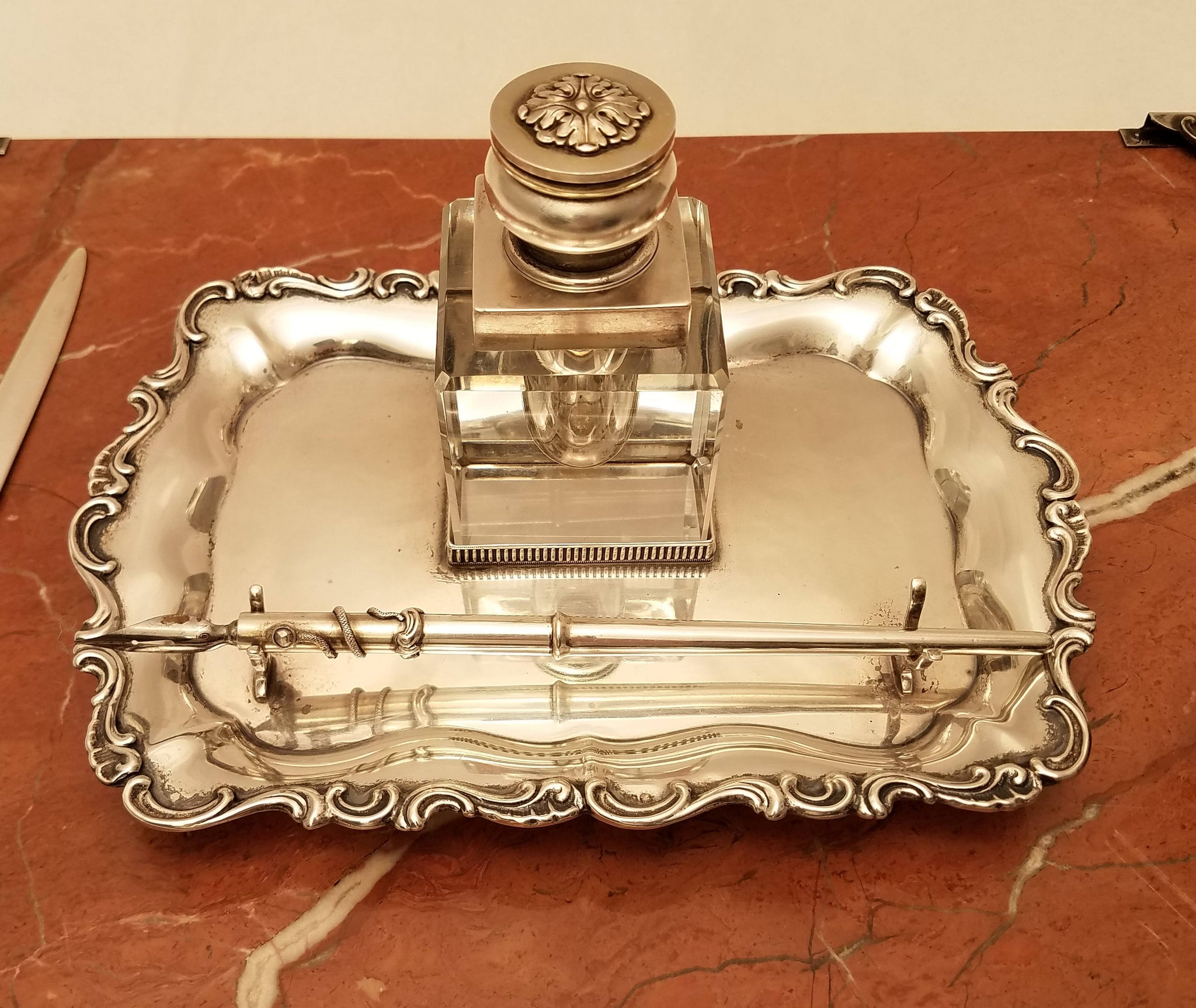 Russian Silver and Marble Desk Set with Inkwell, Letter Opener, and Blotters