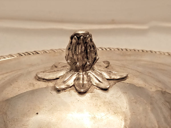 Sterling Silver English Cheese Dish / Covered Bowl in Georgian Style from 1890