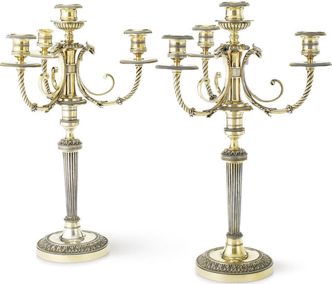 Pair of French Empire Style Gilt Metal Four-Light Candelabras