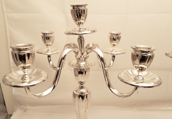 Pair of 5-Light Art Moderne Style Shabbos Silver Candelabra
