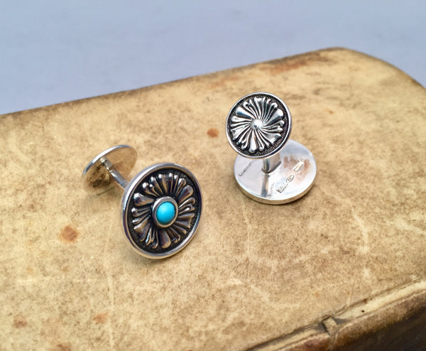 Buccellati Sterling Silver and Turquoise Cuff Links