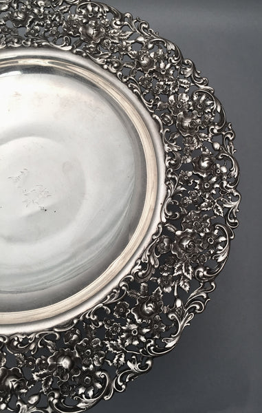 Sterling Centerpiece / Compote With Ornate Repousse Pattern by International Sterling