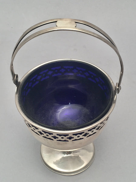 Sterling Silver Bridal Basket by Wallace With Blue Glass Liner