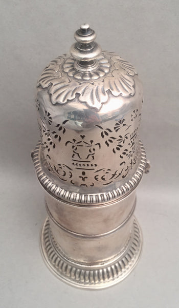 Large English Silver Muffineer / Sugar Shaker 18th Century