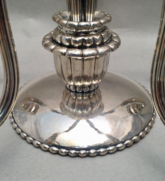 Pair of Continental Silver Jensen Style Five Light Candelabras